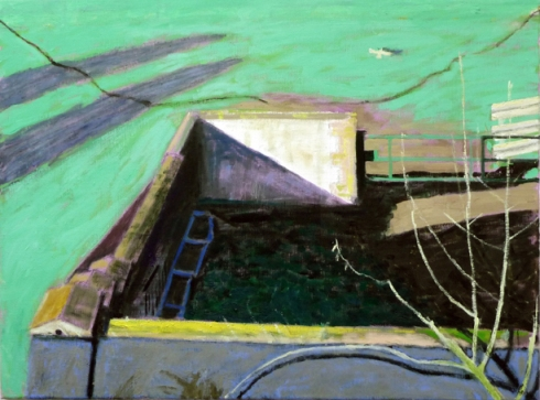 Byre and Bird, Early Morning   oil painting