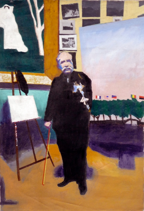 Douanier Rousseau in his studio acrylic