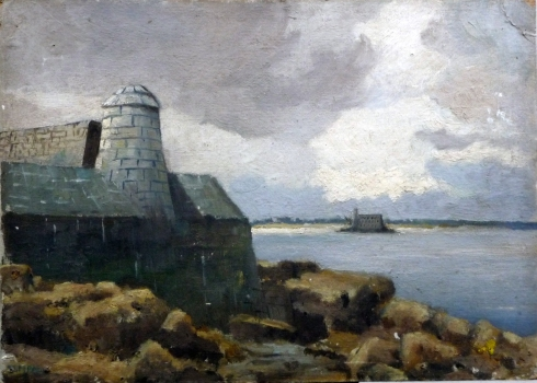 Fort Boyard from the Ile D'aix ?  oil on board c 1951